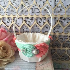 Mint and Coral Flower girl basket / rustic by FallenStarCoutureInc