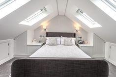 Attic Master Bedroom, Attic Bedroom Designs, Attic Design, Loft Design, Bedroom Loft, Design Case, Attic Bathroom, Loft Conversion Design, Loft Conversion Bedroom