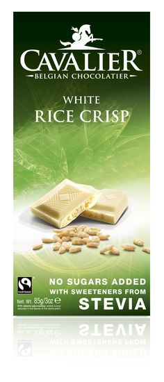 Tablet with sweeteners from Stevia, white chocolate with rice crisp. Cavalier the pioneer in no sugars added chocolate.