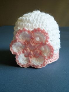 Crochet Baby Girl Hat, Newborn Beanie Hat, Infant, Baby Girl, In white and Baby Pink. $13.00, via Etsy.