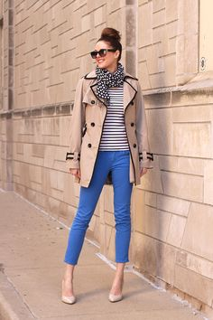 Blue Jeans on What I Wore, Jessica Quirk, Stripes, Polka Dots, Trench, whatiwore.tumblr.com