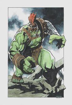 Planet Hulk (Sal Buscema Homage) - Dike Ruan, in T Shen's Homage Gallery - Sal Buscema Hulk Box Art Series Comic Art Gallery Room Hulk Marvel, Marvel Art, Marvel Comics, Avengers, Comic Book Characters, Comic Books Art, Planet Hulk, Sal Buscema, Marvel Tattoos