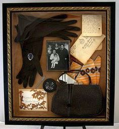 Great-Grandma's purse with all of the items it contained. - Shadow Memory Box.