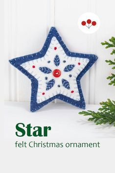 This Nordic folk art inspired star ornament is hand stitched in layers of felt with appliqued and embroidered leaves, and finished with a small button.It measures 4 inches / 10cm wide, has a plain felt back and a cotton loop for hanging.The star is part of a collection including the Berry heart and the Mistletoe heart shown in the final photos. They are available individually or as a set. #feltchristmasornaments #scandichristmas #nordicchristmas #starornament Scandi Christmas, Christmas Star, Embroidered Leaves, Felt Banner, Felt Christmas Ornaments, Heart Ornament, Handmade Felt, Mistletoe, Folk Art