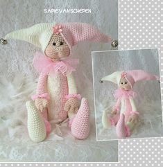 Jester, kooppatroon van Crea me and you… Knitted Dolls, Crochet Dolls, Crochet Baby, Easy Crochet Animals, Knitted Animals, Doll Clothes Patterns, Doll Patterns, Handmade Toys, Handmade Crafts