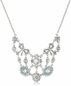 """Betsey Johnson """"Stone and Pearl"""" Crystal Gem Necklace, 19"""""""