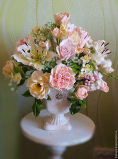 """Букет из глины """"Пудровые Сны"""" керамическая флористика - бледно-розовый"""
