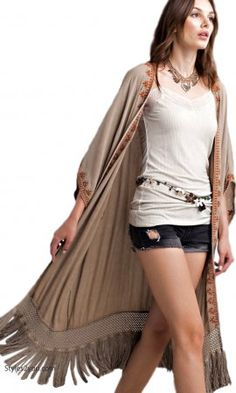 Athens Oversized Embroidered Fringe Trim Duster In Washed Latte Women's Trends, Vintage Inspired Outfits, Fringe Trim, Neutral Tones, Crochet Trim, Swimsuit Cover, Open Cardigan, Easel, Clothing Items
