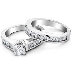 Women's .925 Sterling Silver Princess & Round Cut White Diamond Bridle Ring Set #adorablejewelry #AnySpecialDay