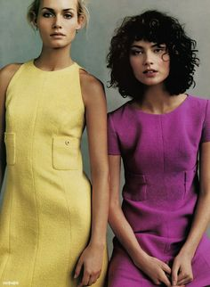 """Amber Valletta and Shalom Harlow wearing Chanel in """"Fashion Loosens Up"""" by Steven Meisel for Vogue US January 1996"""