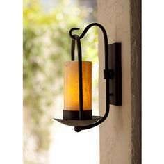 Onyx Stone Faux Candle 15 High Espresso Wall Light 84346 Lamps Plus Wall Lights Faux Candles Candle Wall Sconces
