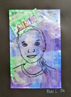 Layered Self Portraits- photographs stenciled on transparency w/watercolored backgrounds