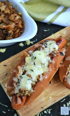 French Onion Hot Dogs are good just like your favorite French Onion Soup, but in a handy bun and extra delicious because it's a hot dog! We have Hot Dog Cookers @ Rent All Plaza I Love Food, Good Food, Yummy Food, Dog Recipes, Cooking Recipes, Amish Recipes, Dutch Recipes, Recipies, Gourmet Hot Dogs