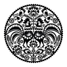 rooster: Polish floral embroidery with roosters - monochrome traditional folk…