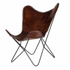 Butterflyfåtölj i skinn. Fina och prisvärda danska möbler från By On. Fraktfri hemleverans.