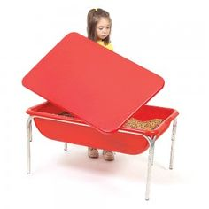 Red Sensory Table with Top