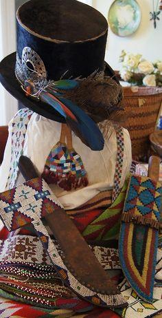 Lakota Sioux beaded knife sheaths from Uchizono Gallery.