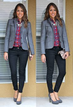 Dark gray blazer and black pants broken up by red plaid and statement necklace.