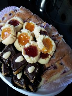 Almond cake, blueberry drizzle cake and jam thumbprints.