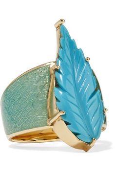 Brooke Gregson - Maya 18-karat Gold, Turquoise And Enamel Ring
