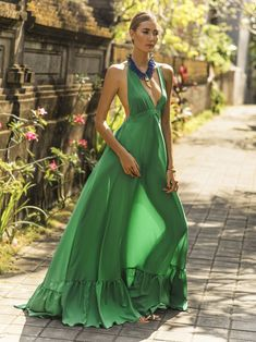 370c195343 Crepe Rayon halter dress with low gathered elastic band back and ruffle  tier hem. erika peña
