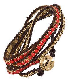 Blu Bijoux Coral And Brown Beaded Wrap Around Bracelet-- WANT!