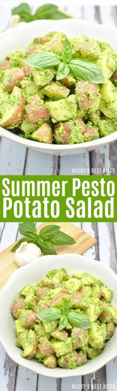 Summer Pesto Potato Salad - Perfect for any 4th of July celebration!  http://www.beckysbestbites.com/summer-pesto-potato-salad #4thofJuly #healthyrecipe