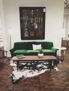 """""""I was in Seattle last week for a project. I visited Room & Board while I was there and fell in love with Murphy Sofa in emerald green. Actually, I would take this whole set-up! The art above the sofa perfectly ties in the whole look. I'm also loving that Hansen Bench. Bravo Room & Board!"""""""