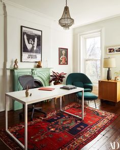 an office space with