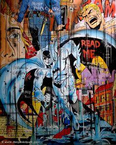 benjamin SPaRK est un artiste qui vit et travaille à Bruxelles. Peintre et plasticien, SPaRK donne naissance à des personnages issus de la BD, de la caricature. SPaRK apparait comme une véritable locomotive de la « street pop » bruxelloise, une mouvance qui revendique la synthèse de la pop américaine et de la culture de l'art urbain européen. Benjamin Spark - Street art - Pop art - Comics - Super Héros www.benjaminspark.com