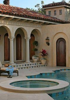 Tuscan design – Mediterranean Home Decor Mediterranean Architecture, Mediterranean Style Homes, Spanish Style Homes, Spanish House, Spanish Colonial, Tuscan Design, Tuscan Style, World Decor, Hacienda Style