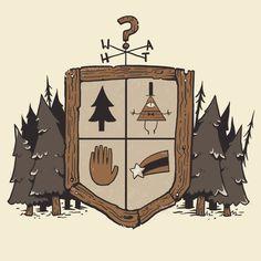 Gravity Falls T shirt (Just West of Weird by Rebekie Bennington, Redbubble)