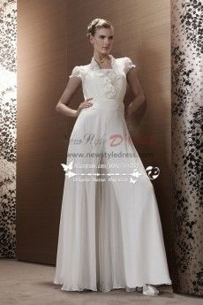 White Chiffon wedding jumpsuit bridal Siamese trousers dresses wps-087