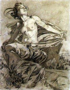 Alphonse Mucha, 'Soleil' , inchiostro su carta , 1899