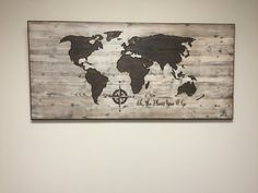 Beautiful WOOD CARVED World Map Wall Art - made from solid wood and is custom made to order. Add your own quote, pick your own font, pick your desired finish - make it your own!  Feel confident in your purchase - read our reviews: https://www.etsy.com/your/shops/HowdyOwl/reviews?ref=shop_info    TO VIEW COLOR PALLET, GO TO THIS LINK: https://www.etsy.com/listing/458275048/color-pallett-for-world-maps-with-white?ref=shop_home_act...