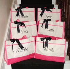 Set of 6 Personalized Bridesmaid Totes in Black Navy by elriley, $90.00