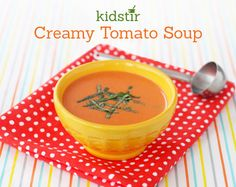 If you love cream of tomato soup, try making it from scratch with our quick and easy recipe. Add a little extra flavor with fresh basil (or stir in some Cheddar cheese cubes just before serving! Cooking 101, Cooking With Kids, Dinner Recipes For Kids, Kids Meals, Cream Of Tomato Soup, New Recipes, Favorite Recipes, Tomato Soup Recipes, Quick Easy Meals