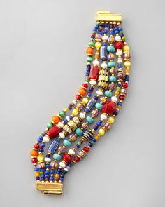 Multicolor Beaded Bracelet by Jose & Maria Barrera at Neiman Marcus.  I love the casual mix of beads juxtaposed against the elegance of the gold findings.