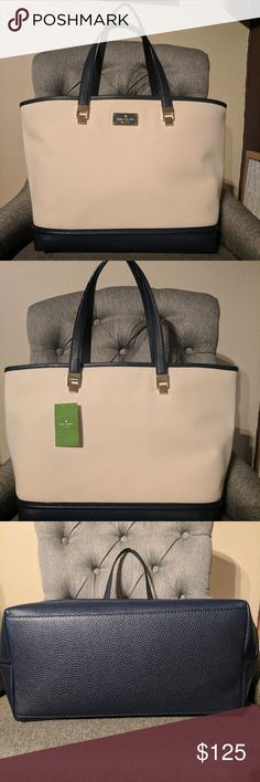 """Kate Spade Oliver Street Canvas and Leather Tote 100% Authentic Kate Spade Canvas & Leather Tote  Gold tone hardware, Kate Spade logo on front  Open top  Interior zip & 2slip pockets  Leather straps with 8.5""""drop  12.75"""" W x 11"""" H x 6.5"""" D  Please review pictures to see that the canvas is natural and has specks in it naturally. kate spade Bags"""