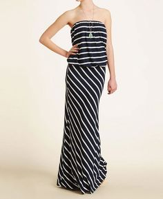 Olivaceous Stripe Tube Maxi Dress | south moon under