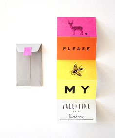 clever accordian-fold valentine in pink, orange & yellow | erin jang