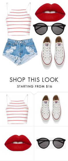 """""""<4>"""" by nenedias on Polyvore featuring Glamorous, Levi's, Converse, Lime Crime and Yves Saint Laurent"""