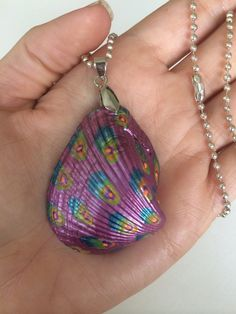 Hand Painted Sea Shell Pendant