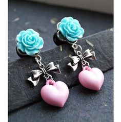 Adorable Pastel Dream Custom Dangle Heart Plugs 10mm