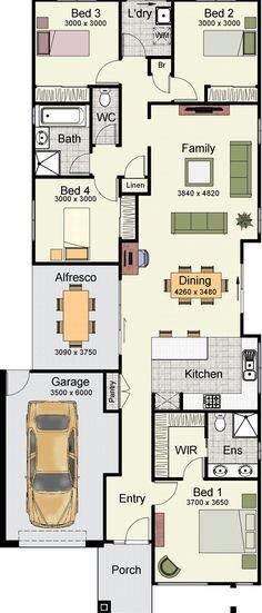 9m narrow block house designs google search new homes for Narrow block home designs