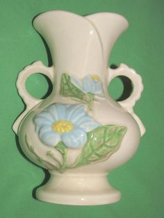 """Hull Pottery Blue Magnolia Vase H-7-6 1/2"""" Double Handle Light Pink Green Floral"""