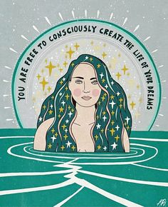 You are free to consciously create the life of your dreams, gorgeous teal art print with beautiful woman by Asja Boros. Positive Affirmations, Positive Quotes, Positive Art, Positive Images, Montag Motivation, Workout Motivation, Quotes Motivation, Citations Yoga, Pretty Words