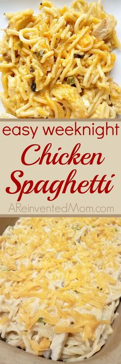 Comfort food simple enough for a week day - Easy Weeknight Chicken Spaghetti  #chickenspaghetti  #comfortfood #easydinner - A Reinvented Mom