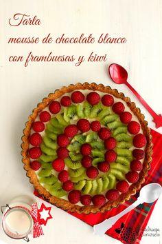 Christmas pie- Tarta mousse de chocolate blanco con frambuesas y kiwi
