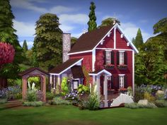 Imagine yourself living in a picturesque hideaway among lush green forests and a charming watermill. This beautiful red cabin features 2 bedrooms, 1 full bath, rustic kitchen and a cozy living. Sims 4 House Plans, Sims 4 House Building, Rustic Cabin Decor, Rustic Cabins, Lodge Decor, Log Cabins, Rustic Wood, The Sims 4 Lots, Log Home Interiors